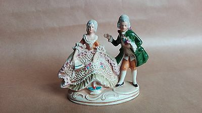 couple galant Marquis marquise Biscuit Porcelaine 1900 ancien