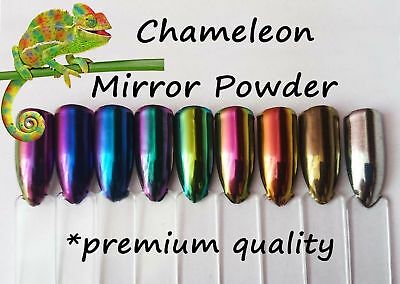 9pcs Chameleon and Silver Gold Mirror Chrome Powder Pigment Dust Top Quality