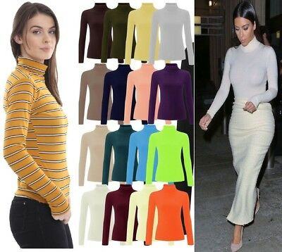Womens Ribbed Roll Neck Jumper Top Ladies Rib Polo Neck Long Sleeve Top 8-28