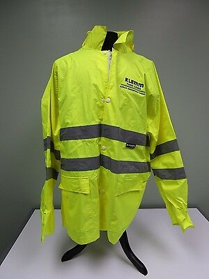 M-Safe Majestic Rain Jacket High Visibility Yellow Removable Hood Class 3 Sz 2XL