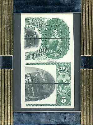 1875 $2 & $5 National Currency Right End Back Laban Heath's Proof
