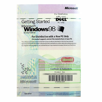 Microsoft WINDOWS 98 SE Second Edition OS CD Full Version w/ License Key SEALED