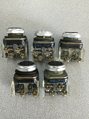 Lot Of 5 Used Allen-Bradley Pushbuttons Flush Black Head 800T-A Series T