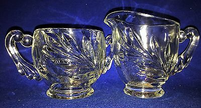 Cut Glass Set of Sugar and Creamer with WILLOW  Cut Leaf Design, Ornate Handles