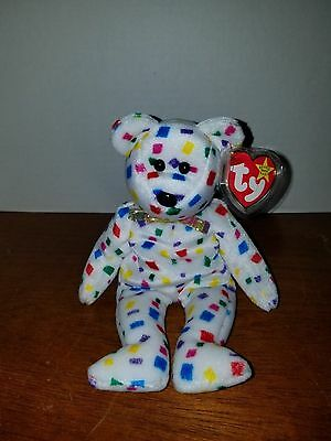 Ty Beanie Baby Ty 2k Confetti Bear (Small Head) RARE and RETIRED with Errors b37fa0306a1