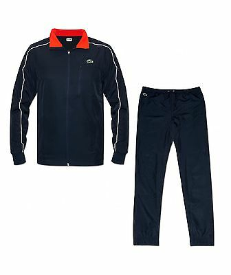 Lacoste Mens Diamond Navy, Red & White Trim Full Tracksuit