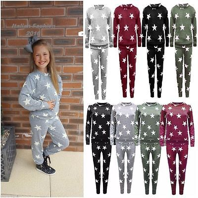 Kids Girls Star Print Top Joggers Loungewear Childern Tracksuit Bottom 3-13 Year