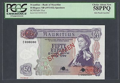 Mauritius 50 Rupees ND(1973-82) P33cs Specimen TDLR About Uncirculated