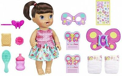Baby Alive Brianna's Butterfly Party Brunette Playset Pretend Play wets diaper