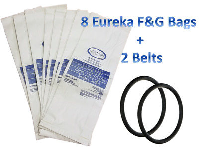 8 Bags for Eureka Style F&G Vacuum Cleaner F G Sanitaire Commercial + 2 Belts