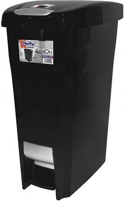 Hefty 11.2-Gallon Premium Slim Design Step On Lid Waste Can With Stainless Look