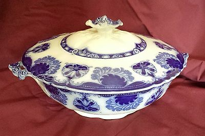 Antique Flow Blue Baltic Covered Vegetable Bowl Dish Tureen by W. H. Grindley