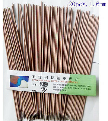 20x 1.6mm Arc Welding Rods Electrodes For Stainless Steel L=250mm Class E308-16