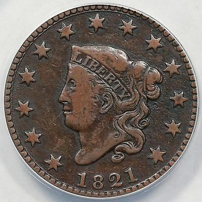 1821 N-2 ANACS VF 20 Details Matron or Coronet Head Large Cent Coin 1c
