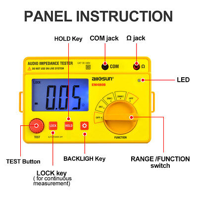 Digital Audio Impedance Tester LCD Display Speakers System Resistance Ohmmeter