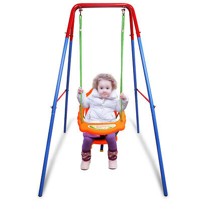Folding Toddler Baby Swing Safety Chair Set Kids Play Fun Garden in/Outdoor Yard