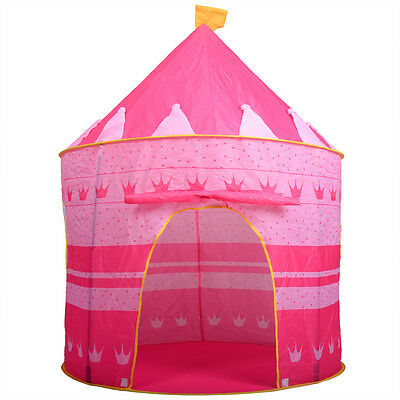 Portable Pink Folding Play Tent Kids Girl Princess Castle Fairy Cubby House New