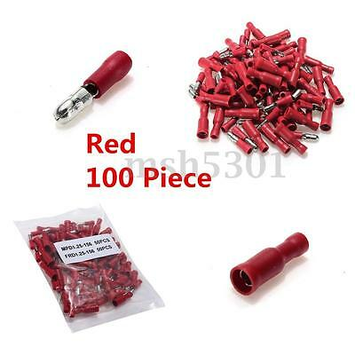 100pcs 50pairs 4mm Insulated Female&Male Bullet Butt Connector Crimp Terminals