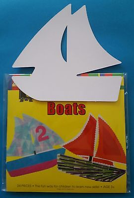 Free Post 24 x Boats Glossy Cardboard Fun Shapes Card Cut outs Kids Craft