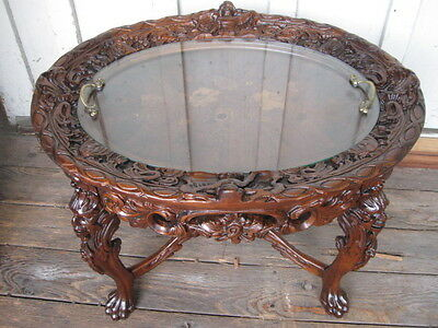 Antique Carved Walnut Coffee Table With Inlay