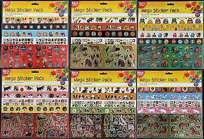 Mega Pack Stickers Assorted Designs - Children Kids Fun Art Animals Dogs Cats
