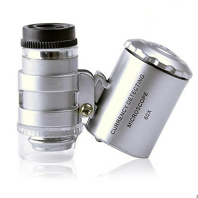 60x New Mini Handheld Pocket Microscope Loupe Jeweler Magnifier With LED Light