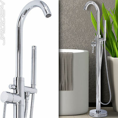 Free Standing Bath Tap Hand Shower Floor Chrome Plated Mixer Faucet Bathroom