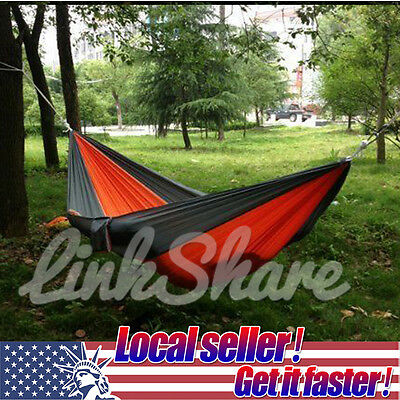 USA Portable 2 Person Outdoor Swing Fabric Camping Hanging Hammock Nylon Bed dis