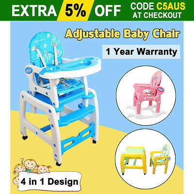 OZ 4in1 Adjustable Baby High Chair Dinning Set Rocking Horse Study Table Safety