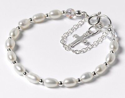 First Communion / Christening Bracelet - Freshwater Pearls & Sterling Silver