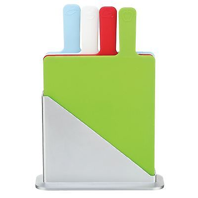 5pc CHOPPING CUTTING SLICING COLOUR SYMBOL CODED STAND HOLDER WITH 4 BOARDS