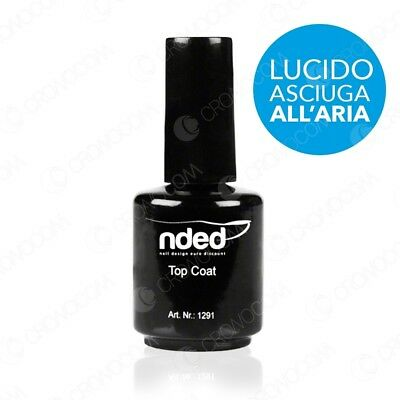 TOP COAT NDED LUCIDO 15ml SMALTO SIGILLANTE UNGHIE SOPRA GEL UV ASCIUGA ALL'ARIA