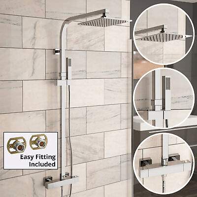 Modern Square Thermostatic Twin Head Shower Mixer Chrome Easy Fix Valve Set 129
