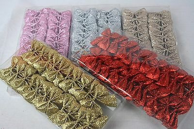 24 Mini Glitter Bows Christmas Gift Wreath Decoration