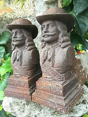 Pair French antique Firedogs cast iron Buste Cavaliers 19th Century firepit BBQ • CAD $113.25