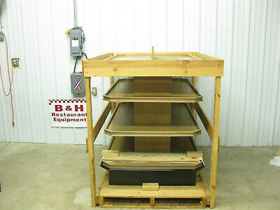 Marco Company 5' 4 Tier Shelf Mobile Wood Bakery Bread Donut Pastry Display Rack