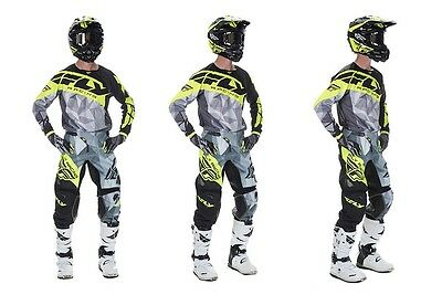Completo cross enduro downhill FLY KINETIC CRUX LIME/GREY (maglia+pantaloni)