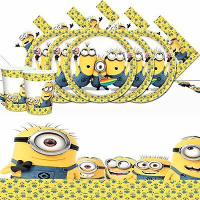 Minions Complete Party Supplies Kit For 16 Plates Cups Napkins Table Cover