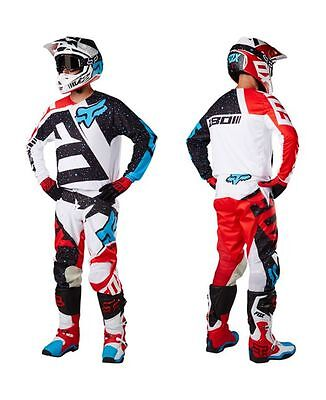 Completo cross enduro downhill FOX 180 NIRV WHITE (Maglia+pantaloni)