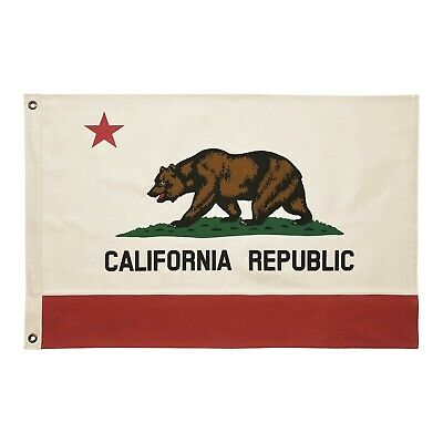 Vintage Style 2x3 Cotton California Republic USA State Bear Flag Canvas Pennant