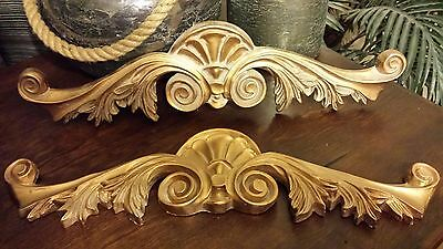 (2) Victorian Style Picture Topper Pediment -Gold Leaf Finish-15  X 3 1/2 inches