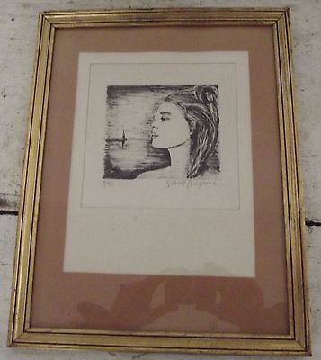antique french XXth lithograph numbered 9/25 signed  Artists Gilbert Baglione