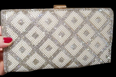 New Silver Austrian Iridescent Crystal - Hard Shell Clutch Bag- Silver Chain
