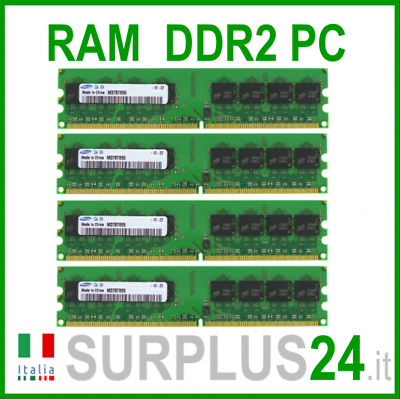 SAMSUNG RAM 4Gb (4x1Gb) PC2-5300U DDR2-667Mhz 240pin Memoria x DESKTOP No Ecc
