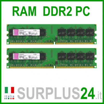 KINGSTON RAM 2Gb (2x1Gb) PC2-6400U DDR2-800Mhz 240pin Memoria x DESKTOP No Ecc