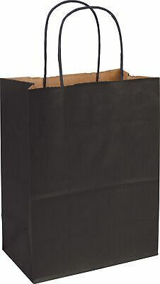250 Black Varnish Stripe Paper Bags Shoppers 8 1/4 x 4 3/4 x 10 1/2""