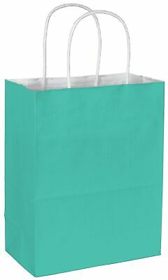 250 Aqua Cotton Candy Paper Bags Shoppers 8 1/4 x 4 3/4 x 10 1/2""