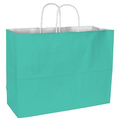 250 Aqua Cotton Candy Paper Bags Shoppers 16 x 6 x 12 1 /2""