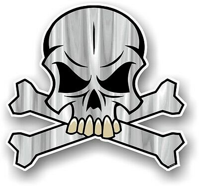 SKULL & CROSSBONES Design & GREY Colour Pirate Motif Vinyl car sticker decal