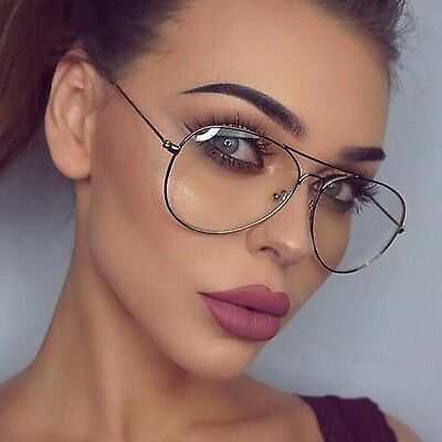 Unisex Tear Drop Pilot Shape Metal Frame Clear Lens Glasses